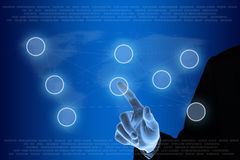 Επιχειρησιακό χέρι που ωθεί στην έννοια δικτύωσης Στοκ εικόνες με δικαίωμα ελεύθερης χρήσης