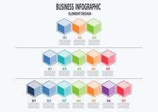 Επιχειρησιακό infographic πρότυπο παρουσίασης με 3-7 βήματα ελεύθερη απεικόνιση δικαιώματος