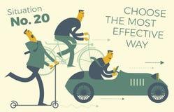 Επιχειρησιακό infographics, επιχειρησιακές καταστάσεις Τα άτομα οδηγούν στα διαφορετικά οχήματα: μηχανικό δίκυκλο, ποδήλατο, αυτο Στοκ Φωτογραφία