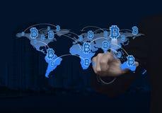 Επιλέγοντας bitcoin την έννοια, στοιχεία αυτής της εικόνας που εφοδιάζεται από το NA Στοκ Εικόνες