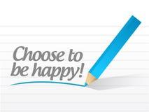 Επιλέξτε να είστε ευτυχές σχέδιο απεικόνισης μηνυμάτων Στοκ Εικόνα