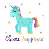 Επιλέξτε την ευτυχία Χαριτωμένος μαγικός μονόκερος με τα μικρά αστέρια Αστεία κάρτα ή ευχετήρια κάρτα απεικόνιση αποθεμάτων