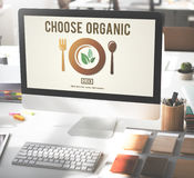 Επιλέξτε την οργανική υγιή έννοια τρόπων ζωής τροφίμων κατανάλωσης στοκ εικόνες