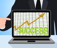Επιδείξεις γραφικών παραστάσεων διαγραμμάτων επιτυχίας που κερδίζουν ή επιτυχείς απεικόνιση αποθεμάτων