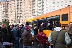 Επιδεικνύοντες που διαμαρτύρονται ενάντια στην κυβέρνηση στο Μιλάνο, Ιταλία στοκ φωτογραφία με δικαίωμα ελεύθερης χρήσης
