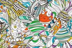 Επιδιορθωμένο doodle σχέδιο υποβάθρου Περίκομψο, φυλετικό σχέδιο σχεδίου Απλό χρωματισμένο υπόβαθρο για το χρωματισμό Στοκ φωτογραφίες με δικαίωμα ελεύθερης χρήσης