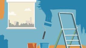 Επιδιόρθωση σπιτιών το διάνυσμα υποβάθρου τοίχων ζωγραφικής για διαφημίζει, έμβλημα, προγράμματα Στοκ φωτογραφία με δικαίωμα ελεύθερης χρήσης