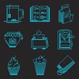 Επιλογές για τα εικονίδια γραμμών προγευμάτων Στοκ Εικόνες