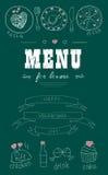 Επιλογές για τους εραστές Τρόφιμα με τις καρδιές ευτυχείς βαλεντίνοι ημέ&rho Στοιχεία ντεκόρ Doodle, κορδέλλες συρμένο χέρι chalk Στοκ φωτογραφία με δικαίωμα ελεύθερης χρήσης