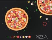 Επιλογές εστιατορίων πιτσών Συστατικά για τον καφέ επίσης corel σύρετε το διάνυσμα απεικόνισης Στοκ Εικόνες