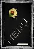 Επιλογές εστιατορίων στον πίνακα κιμωλίας στοκ φωτογραφίες