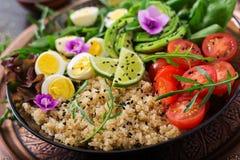Επιλογές διατροφής Υγιής σαλάτα των φρέσκων λαχανικών - ντομάτες, αβοκάντο, arugula, αυγό, σπανάκι και quinoa Στοκ Φωτογραφία