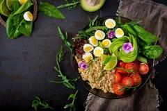 Επιλογές διατροφής Υγιής σαλάτα των φρέσκων λαχανικών - ντομάτες, αβοκάντο, arugula, αυγό, σπανάκι και quinoa Στοκ εικόνες με δικαίωμα ελεύθερης χρήσης