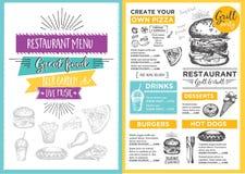 Επιλογές καφέδων εστιατορίων, σχέδιο προτύπων διανυσματική απεικόνιση