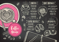 Επιλογές καφέδων εστιατορίων, σχέδιο προτύπων απεικόνιση αποθεμάτων