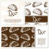 Επιλογές καφέδων με συρμένο το χέρι σχέδιο Πρότυπο επιλογών εστιατορίων γρήγορου φαγητού Σύνολο καρτών για την εταιρική ταυτότητα Στοκ φωτογραφίες με δικαίωμα ελεύθερης χρήσης