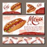 Επιλογές καφέδων με συρμένο το χέρι σχέδιο Πρότυπο επιλογών εστιατορίων γρήγορου φαγητού με το χοτ-ντογκ Σύνολο καρτών για την ετ Στοκ Φωτογραφία