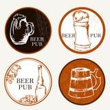 Επιλογές μπύρας Αναδρομικό κάρτα ή ιπτάμενο Ετικέτα της μπύρας Θέμα εστιατορίων Στοκ Εικόνες