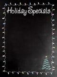 Επιλογές πινάκων ή πινάκων κιμωλίας με τις λέξεις διακοπές Specials Στοκ Εικόνες