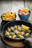 Επιλογή του γεύματος θαλασσινών στο ξύλινο υπόβαθρο Στοκ εικόνα με δικαίωμα ελεύθερης χρήσης