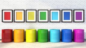 Επιλογή των χρωμάτων για τη ζωγραφική ενός δωματίου ουράνιο τόξο χρωμάτων Στοκ Φωτογραφία
