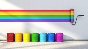 Επιλογή των χρωμάτων για τη ζωγραφική ενός δωματίου ουράνιο τόξο χρωμάτων απεικόνιση αποθεμάτων