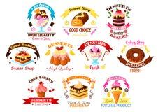 Επιδόρπια και διανυσματικά εικονίδια ή εμβλήματα κέικ καθορισμένα Στοκ Εικόνες