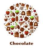 Επιδόρπια και λιχουδιές, στρογγυλό σημάδι τροφίμων σοκολάτας διανυσματική απεικόνιση