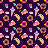 επιδόρπια που τίθενται χα Donuts, muffins, ζυμαρικά, καφές, τσάι, φλυτζάνι, κέικ, παγωτά και ένας croissant Χαμογελώντας γλυκά χα διανυσματική απεικόνιση