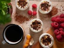 Επιδόρπια σοκολάτας με τα σμέουρα Στοκ Εικόνες
