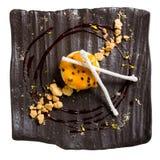Επιδόρπιο Κέικ με τη σάλτσα σμέουρων Στοκ Εικόνα