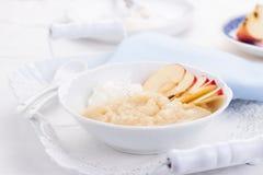 Επιδόρπιο πουρέ της Apple με την κρέμα και τα φρέσκα μήλα Στοκ εικόνες με δικαίωμα ελεύθερης χρήσης