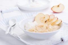 Επιδόρπιο πουρέ της Apple με την κρέμα και τα φρέσκα μήλα Στοκ εικόνα με δικαίωμα ελεύθερης χρήσης