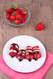 Επιδόρπιο φραουλών με τη σοκολάτα Στοκ Εικόνες