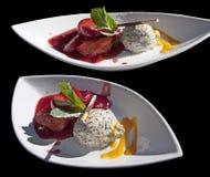 Επιδόρπιο: poppy-seed mousse και φρούτα στο ρούμι Στοκ φωτογραφίες με δικαίωμα ελεύθερης χρήσης