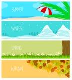 Εποχές, υπόβαθρα, καλοκαίρι, χειμώνας, άνοιξη, φθινόπωρο ελεύθερη απεικόνιση δικαιώματος