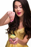 Εποχές Brunette το cupcake Στοκ Εικόνες