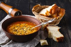Εποχιακή καυτή σούπα κολοκύθας, vegaterian έννοια τροφίμων Στοκ Εικόνες