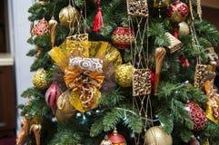 Εποχιακό υπόβαθρο διακοσμήσεων Χριστουγέννων ως τεμάχιο ενός deco Στοκ Εικόνες