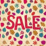 Εποχιακό υπόβαθρο πωλήσεων φθινοπώρου με το χρωματισμένο φύλλο διανυσματική απεικόνιση
