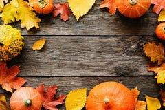 Εποχιακό υπόβαθρο φθινοπώρου με τα πεσμένες φύλλα και τις κολοκύθες Στοκ Εικόνες
