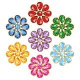 Επτά πολύτιμα απομονωμένα λουλούδι αντικείμενα διανυσματική απεικόνιση
