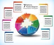 Επτά πλαισιωμένο πρότυπο παρουσίασης διανυσματική απεικόνιση