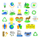 λεπτομερή οικολογικά περιβαλλοντικά ιδιαίτερα εικονίδια eco Στοκ Εικόνα