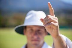 Επόπτης γρύλων που επισημαίνει έξω το σημάδι κατά τη διάρκεια της αντιστοιχίας στοκ φωτογραφία με δικαίωμα ελεύθερης χρήσης