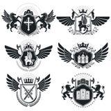 Εραλδικά σημάδια, στοιχεία, εμβλήματα οικοσημολογίας, insignias, σημάδια, διανύσματα Αριστοκρατικός υψηλός - συλλογή ποιοτικών συ ελεύθερη απεικόνιση δικαιώματος