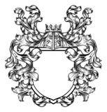 Εραλδικό έμβλημα ασπίδων καλύψεων CREST ιπποτών των όπλων απεικόνιση αποθεμάτων