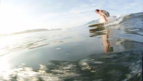 Ερασιτέχνης surfer στον ωκεανό απόθεμα βίντεο