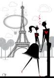 Εραστές στο Παρίσι. απεικόνιση αποθεμάτων