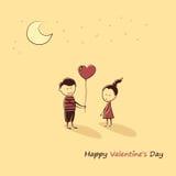 Εραστές Doodle: ένα αγόρι και ένα κορίτσι με μια καρδιά μπαλονιών Ημέρα του ευτυχούς βαλεντίνου κειμένων Στοκ εικόνα με δικαίωμα ελεύθερης χρήσης